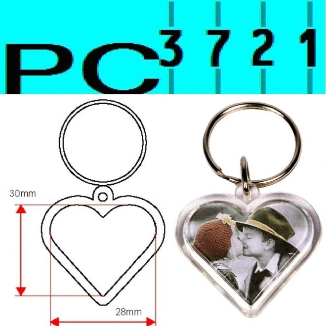 Pack of 10 Blank Heart Shape Clear Plastic Keyrings 28 mm Max Insert G1512